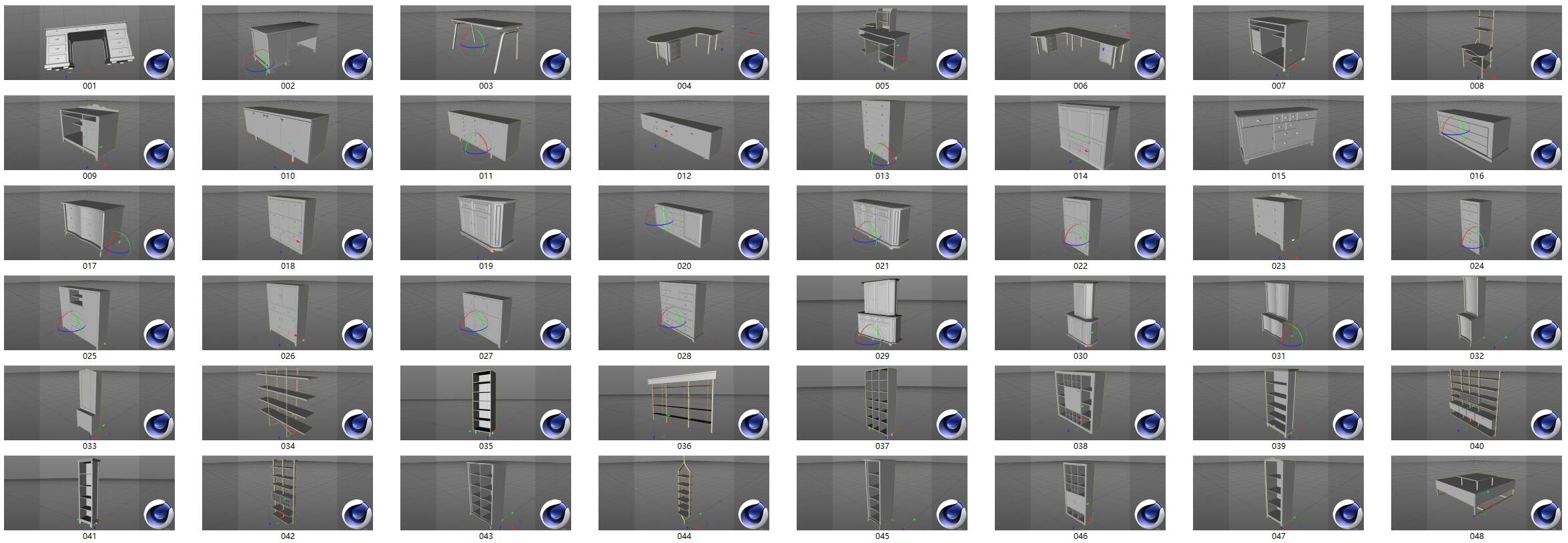 桌子柜子C4D模型合集