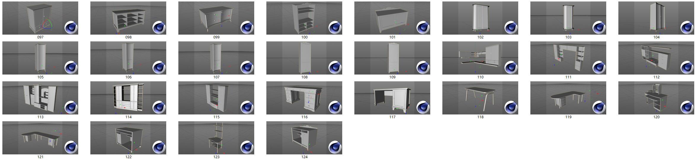 桌子柜子C4D模型