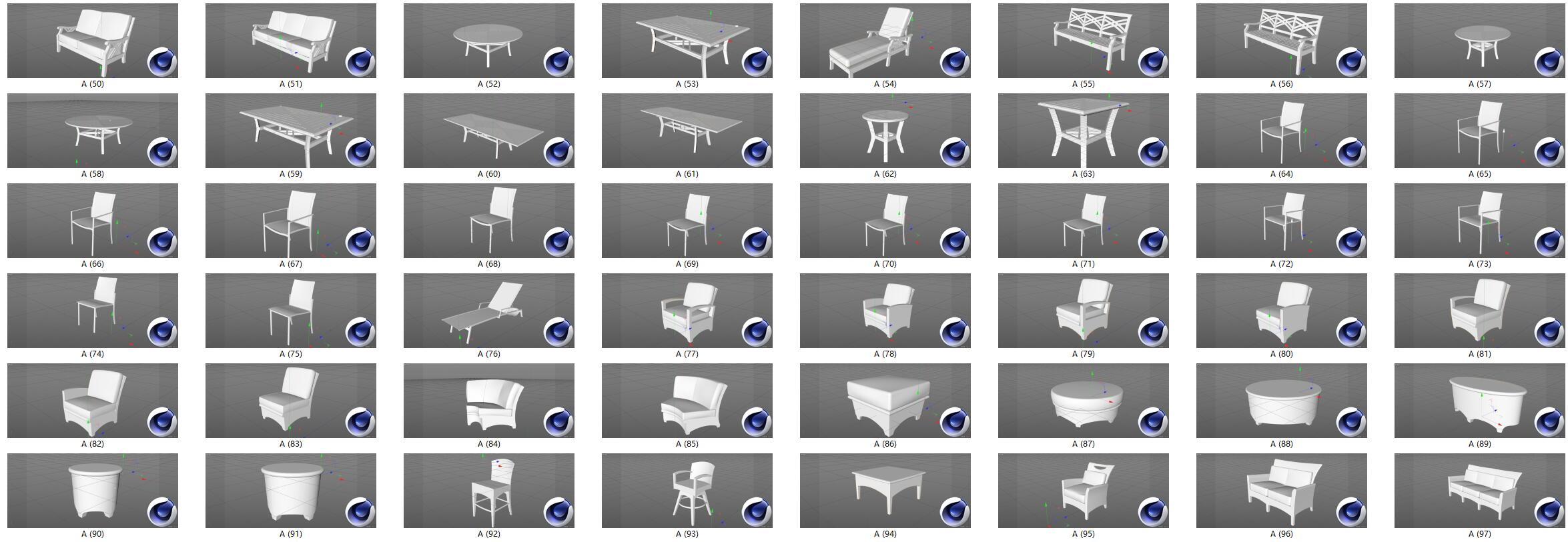 桌子桌椅沙发C4D模型合集
