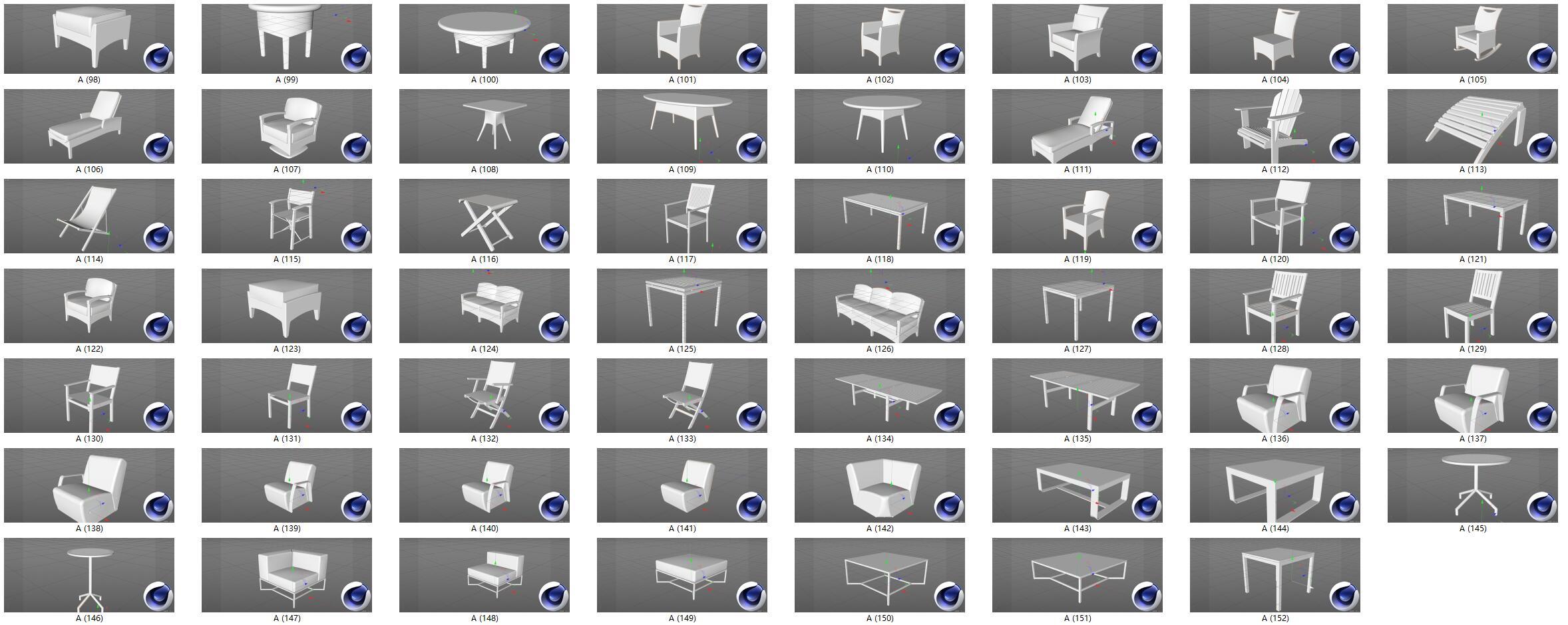 150款简易桌子桌椅沙发C4D模型合集