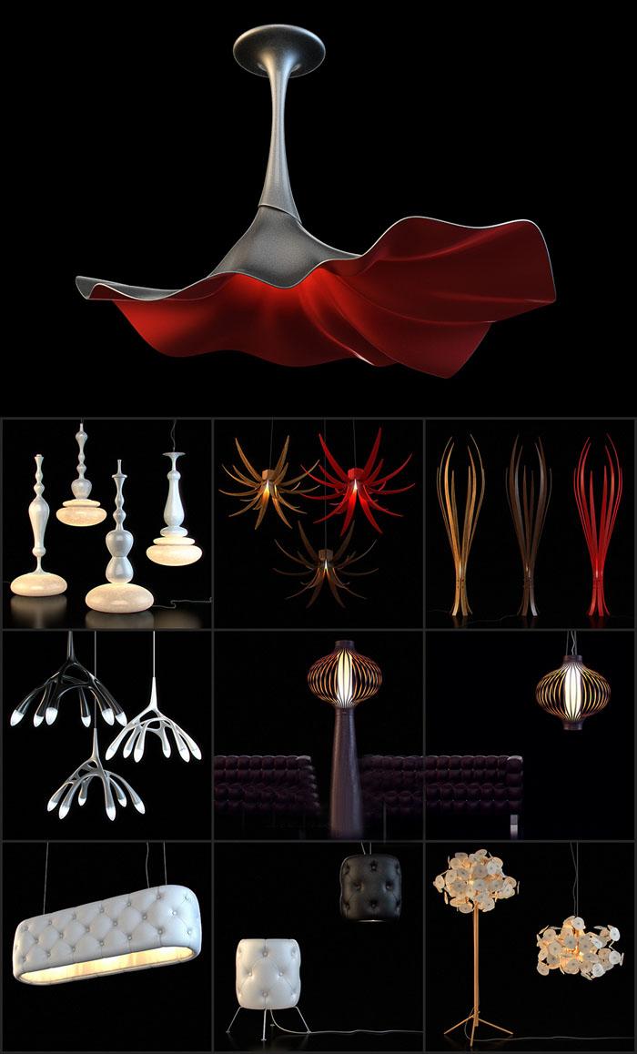 灯具C4D模型合集含材质贴图